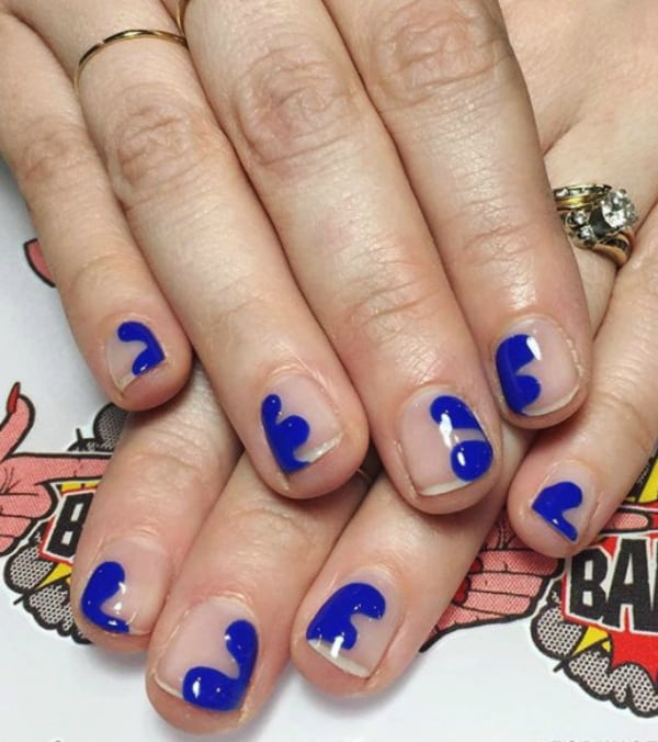 Blue abstract art summer nails 2