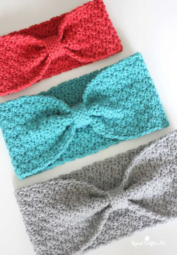 Crochet griddle stitch winter headband