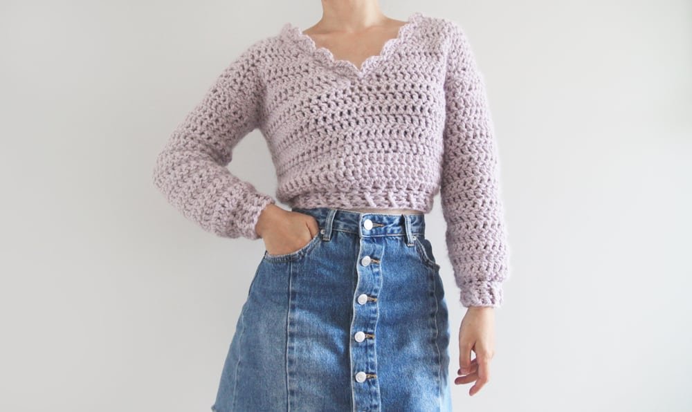 Diy chunky cropped crochet sweater