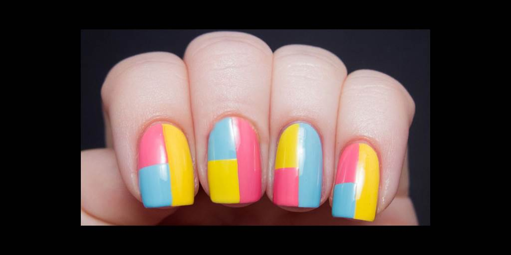 Diy colorblock summer nails