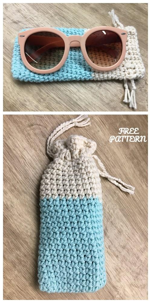 Diy crochet sunglass pouch