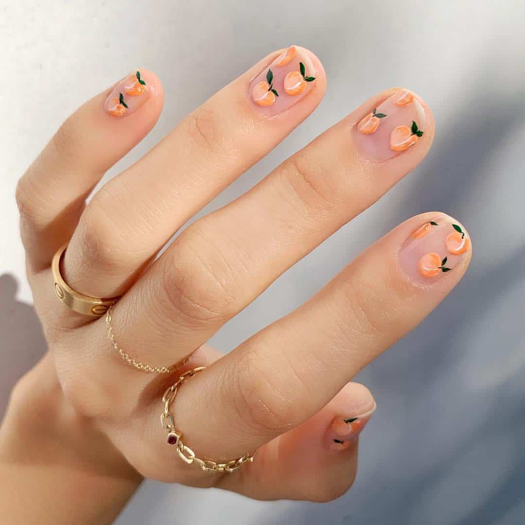 Diy peach summer nails