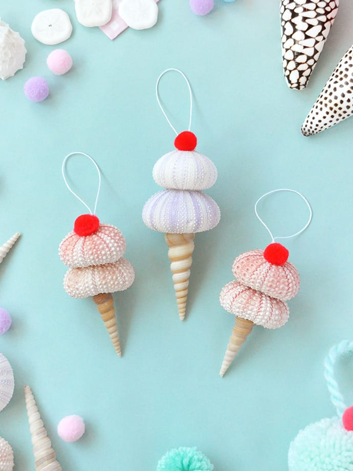 Diy seashell ice cream cone ornaments