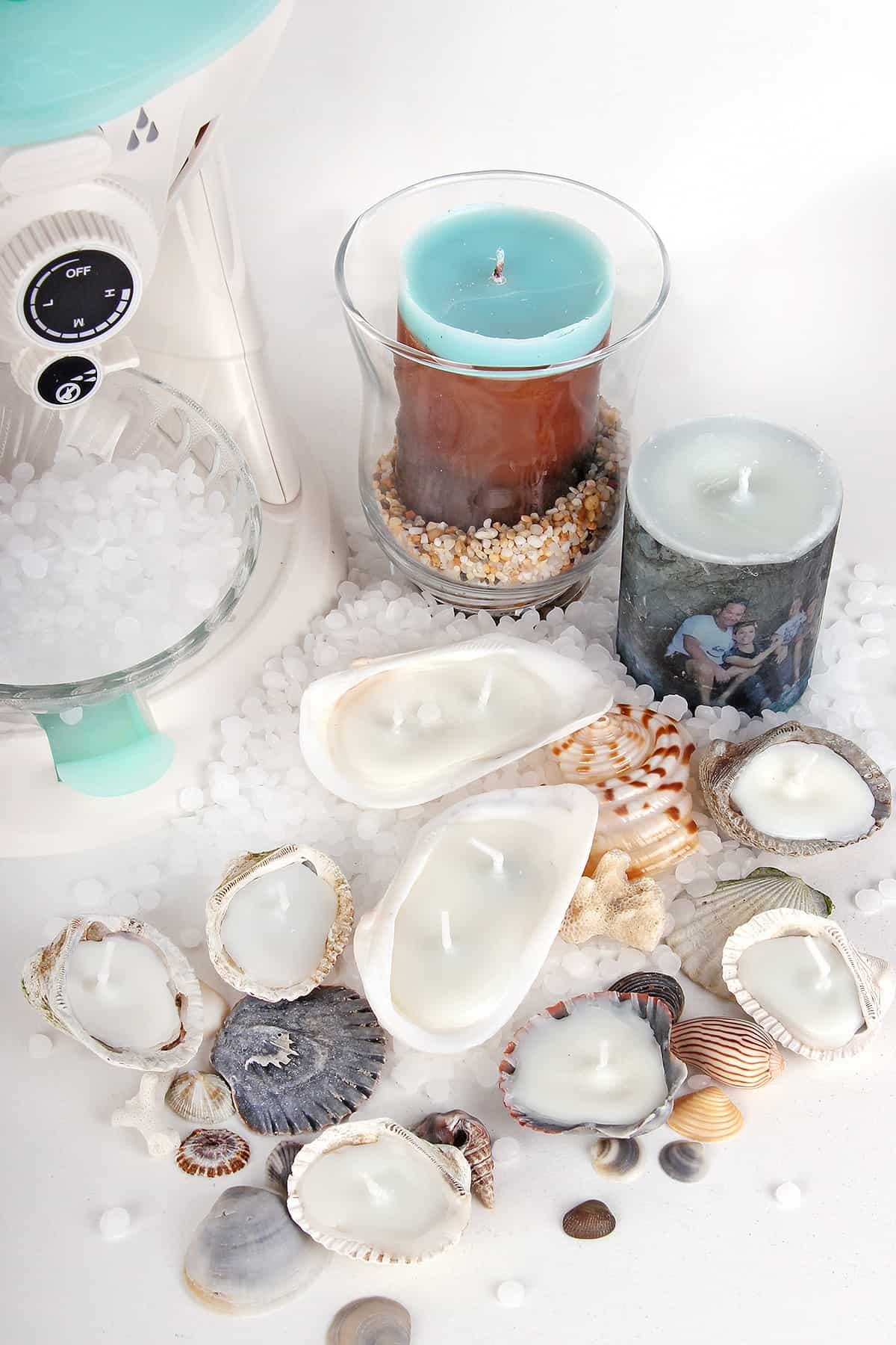 Diy summer shell candles