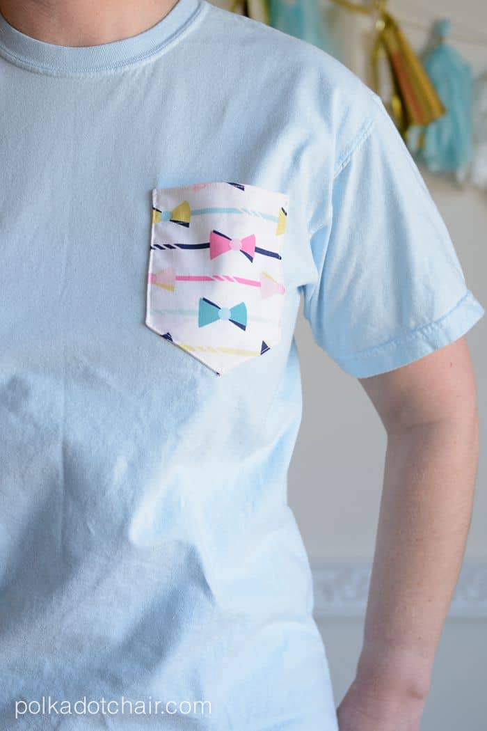 Embellished pocket tee diy