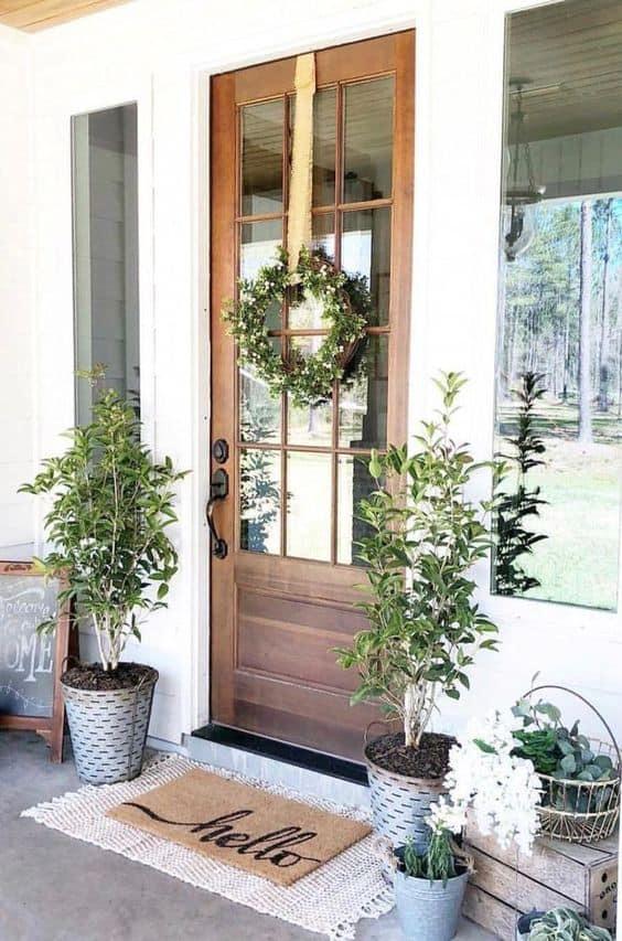 Extra greenery entryway decor