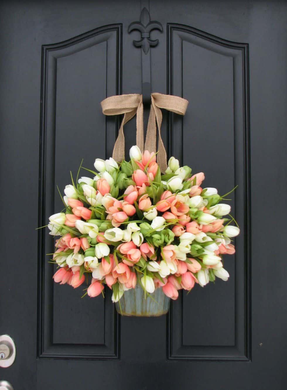 Front door tulip basket decor diy