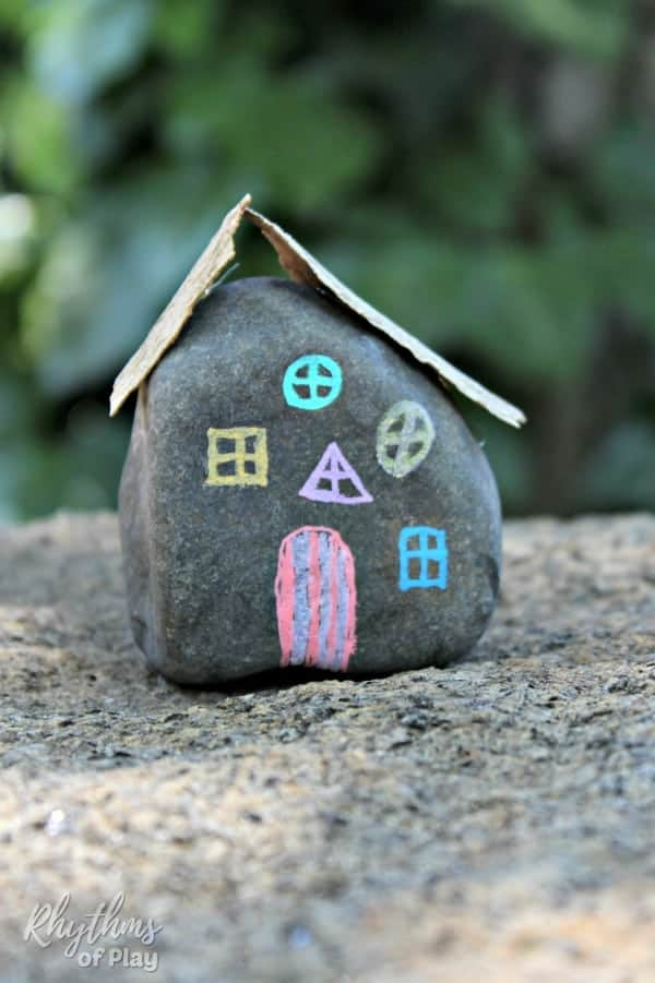 Painted rock fairy houses craft
