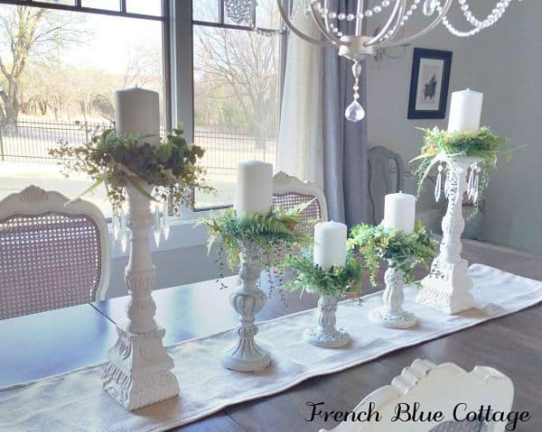 Spring green candle rings setup