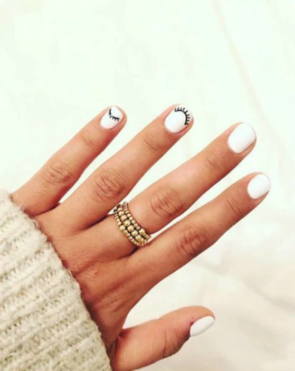 White with eyelashes summer nails 2