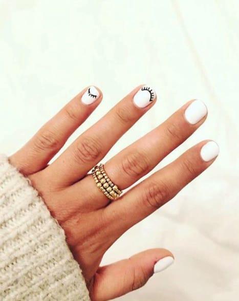White with eyelashes summer nails