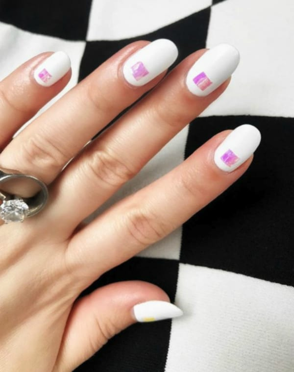 White with neon squares summer nails 2