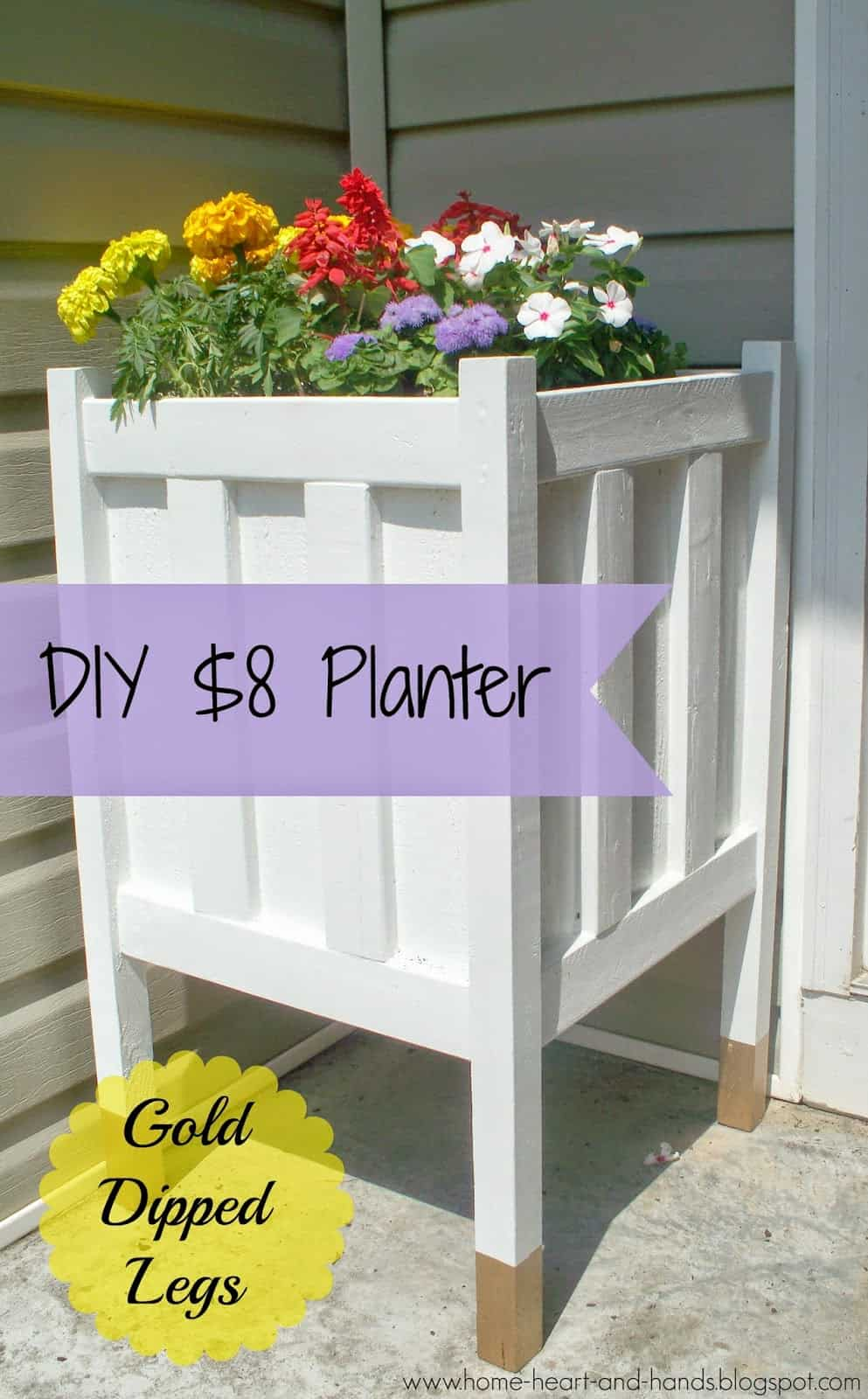 $8 wooden porch planter with gold dipped legs