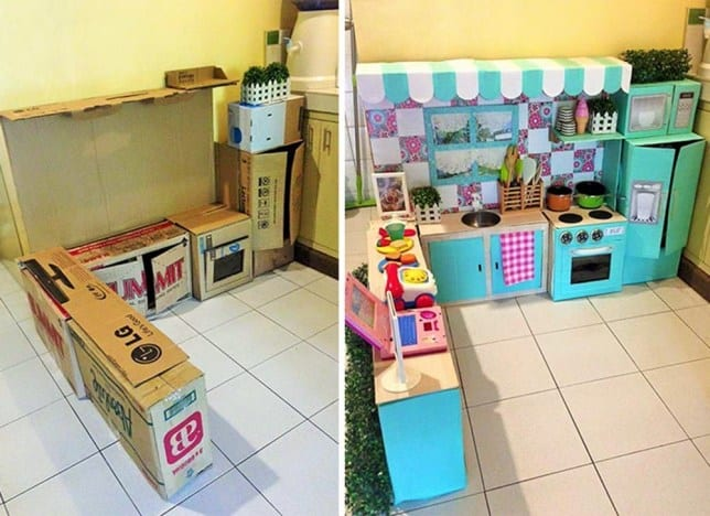 Adorable cardboard box kids' kitchen