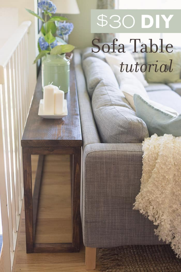 Affordable stained wood sofa table