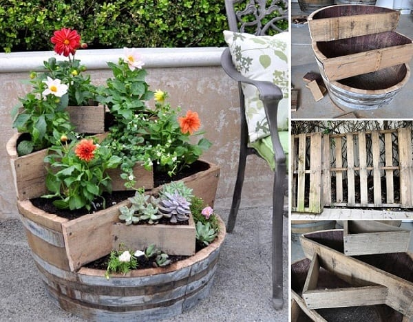 Angular recycled wine barrel planter