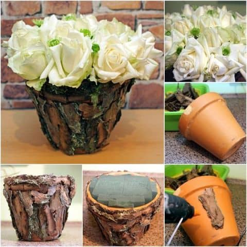 Bark covered flower pot