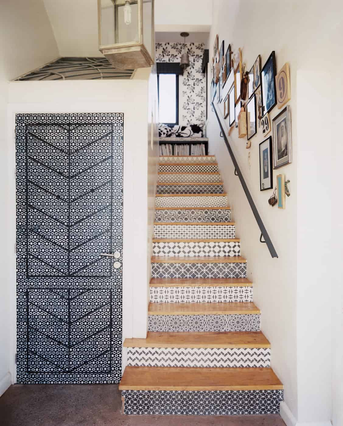 Black and white wallpaper stair risers