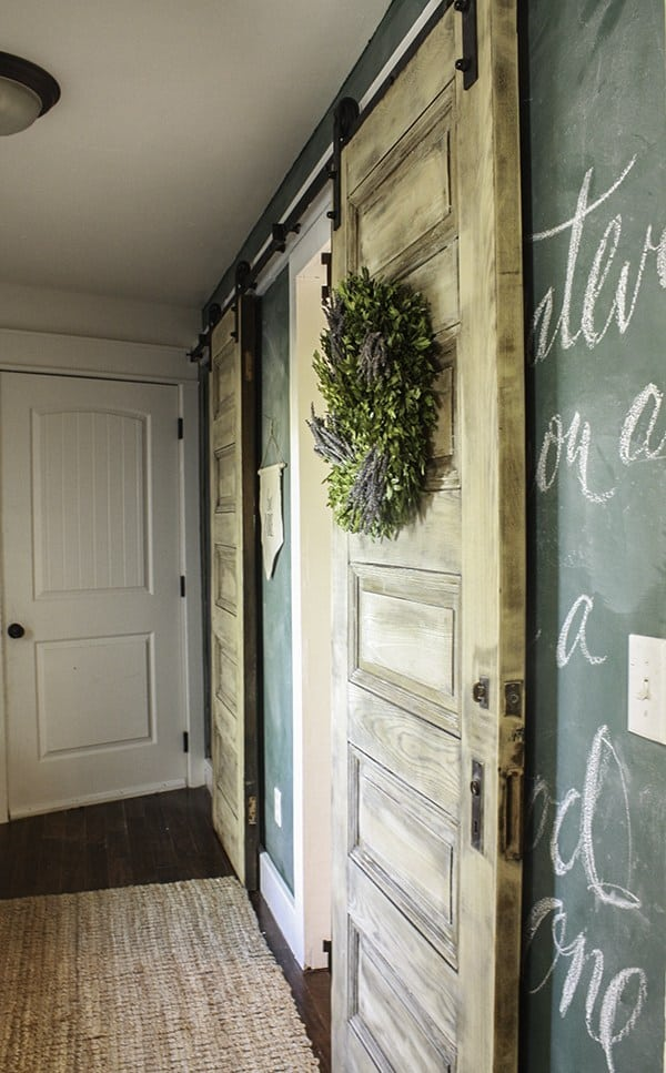 Bleached wood barn doors