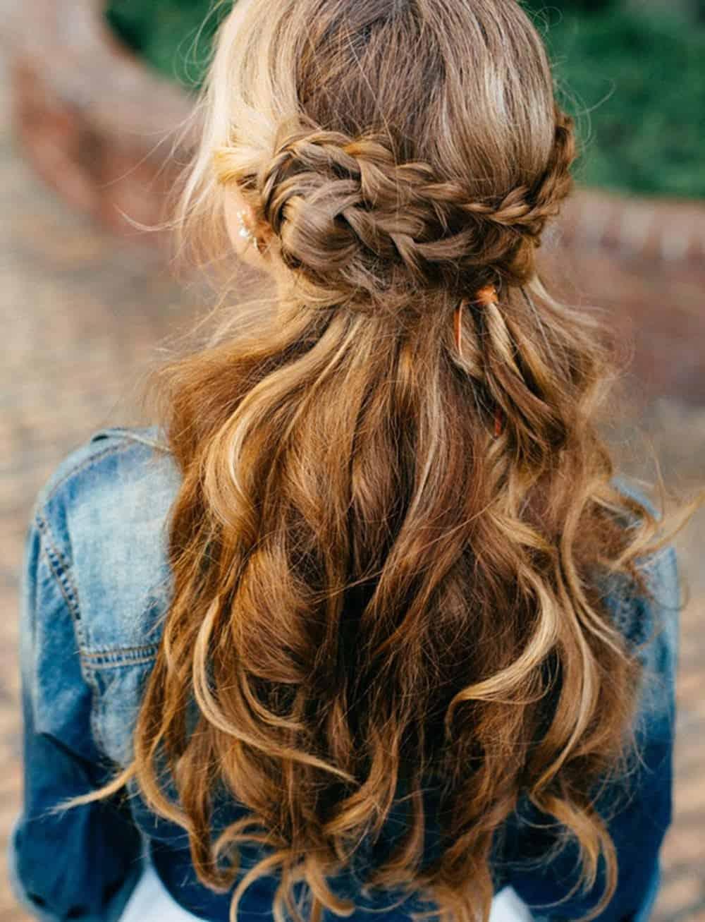 Braids waves long wedding hair