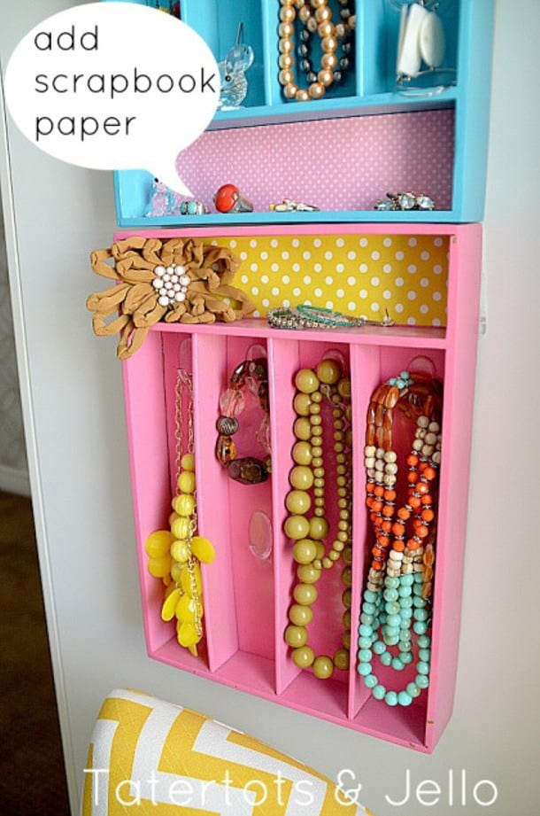 Bright scrapbook paper shelves