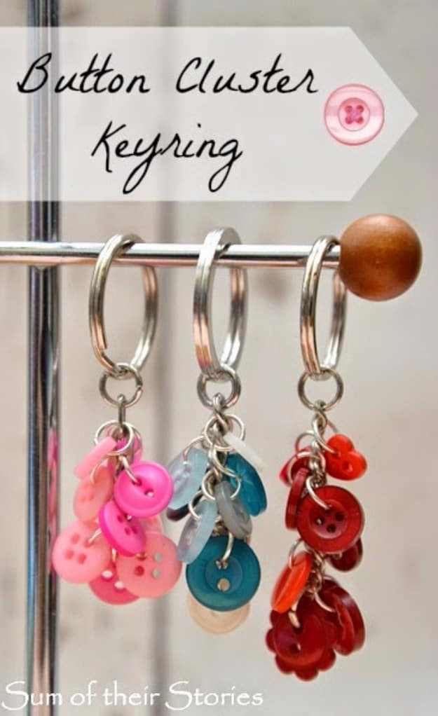 Button cluster key rings