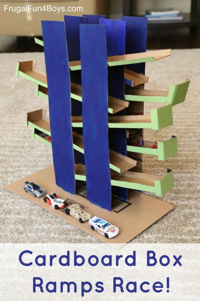 Cardboard mini cars ramp race