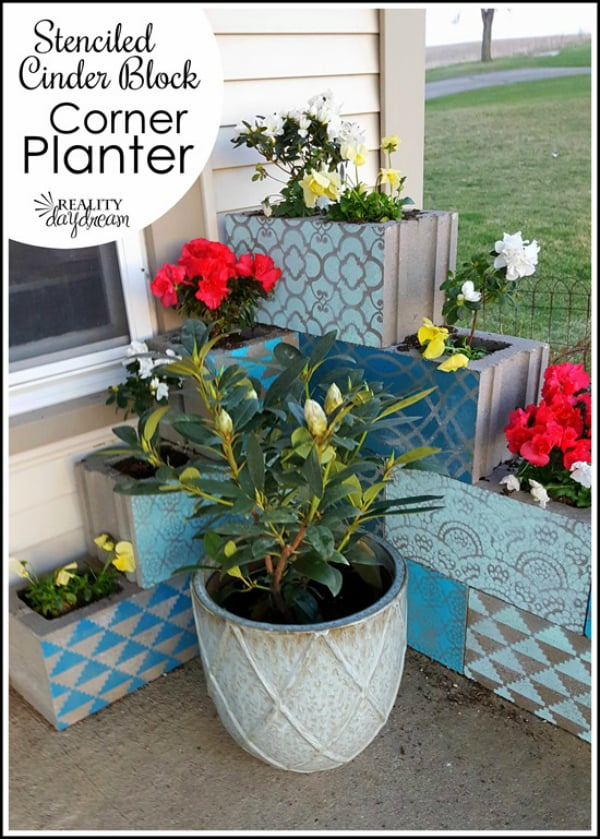 Cinder block corner planter with each block stenciled a different shade reality daydream 5 2