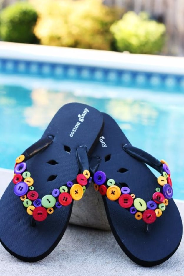 Colourful button flip flops