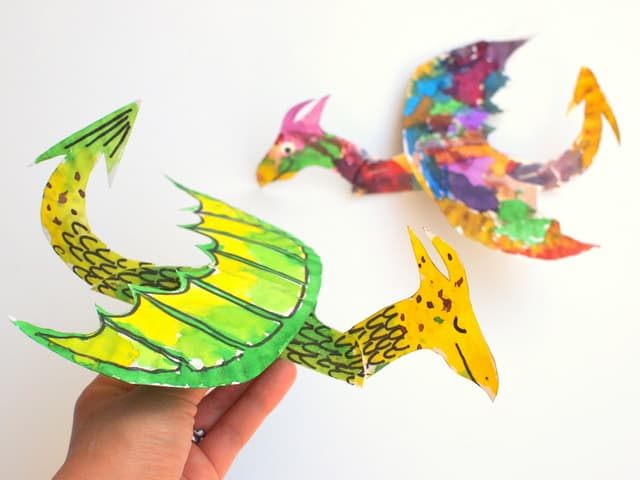Colourful paper plate dragons