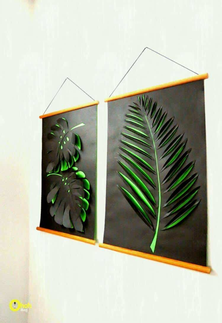 Cut out and layered paper leaf scrolls