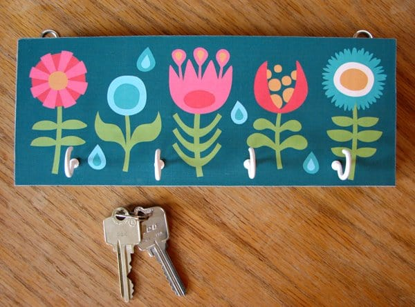 Cute hand painted floral key holder