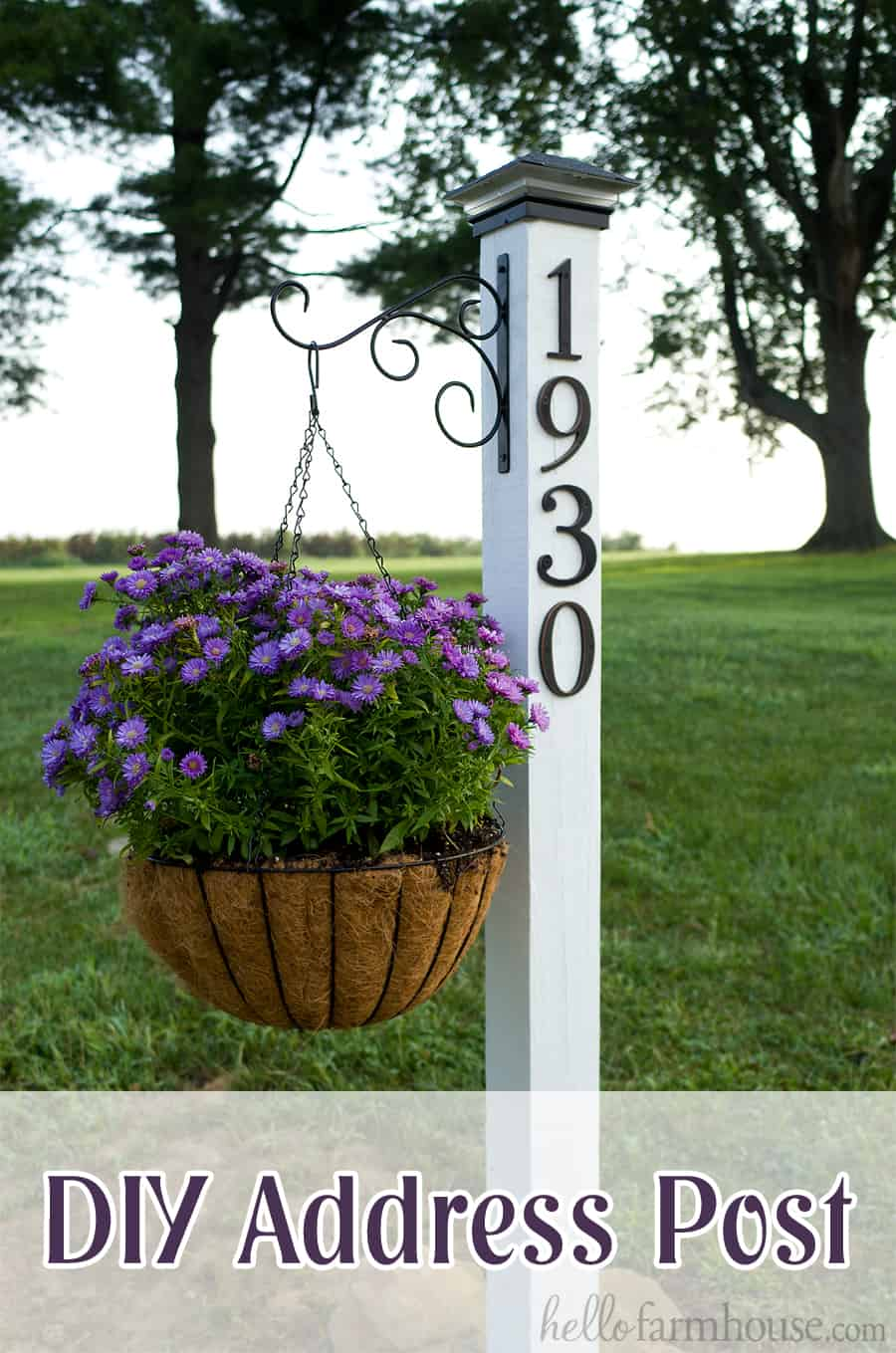 Diy address post and hnaging planter