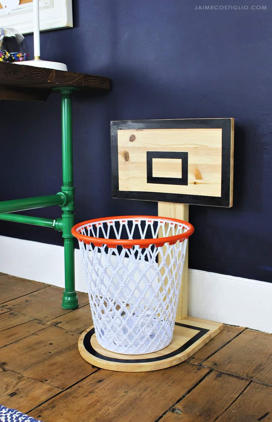 Diy basketball hoop trash can