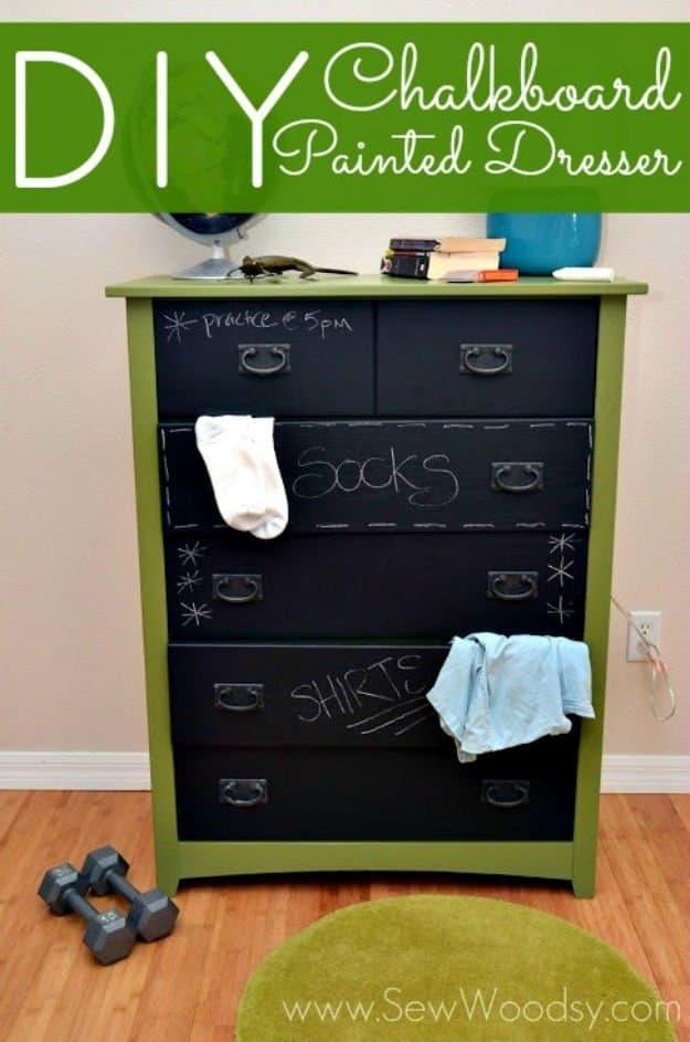 Diy chalkboard dresser