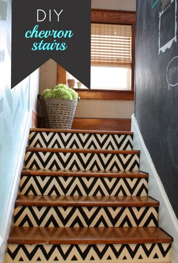 Diy chevron painted stairs