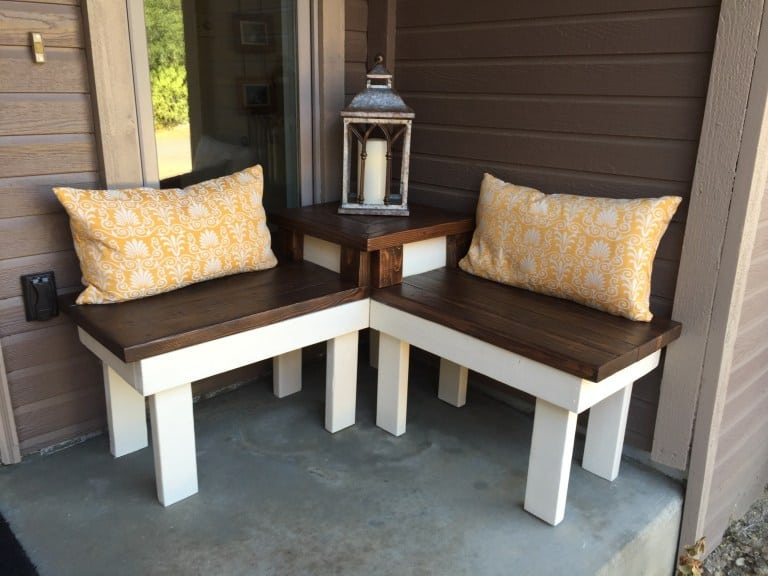 Diy corner porch bench with built in table