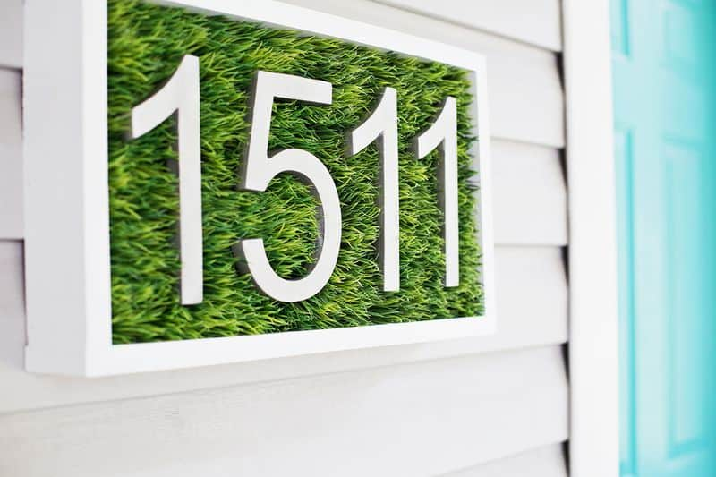 Diy grassy modern house number