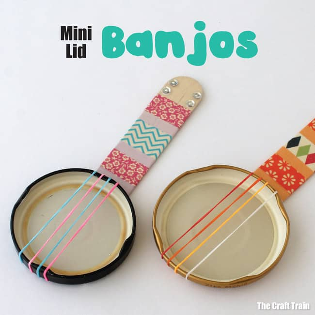 Diy jar lid and popsicle stick banjos