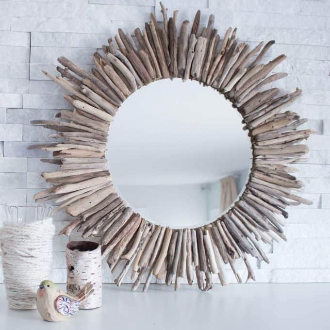 Diy starburst driftwood mirror
