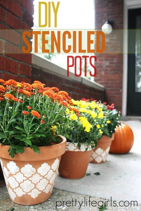Diy stencilled clay pots