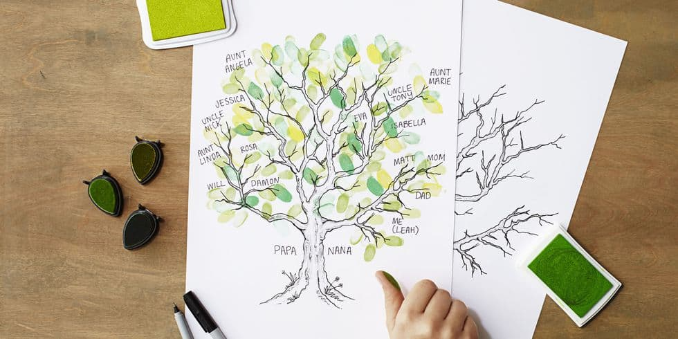 Diy thumbprint leaves family tree