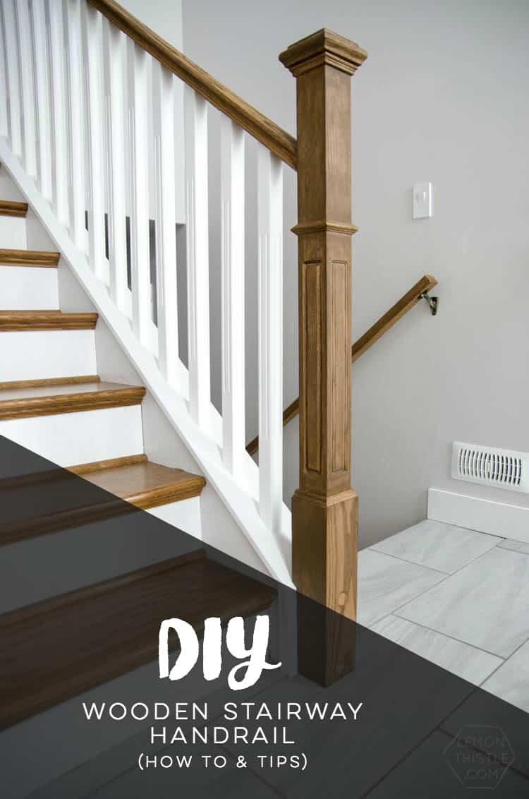 Diy wooden stairway hand rail