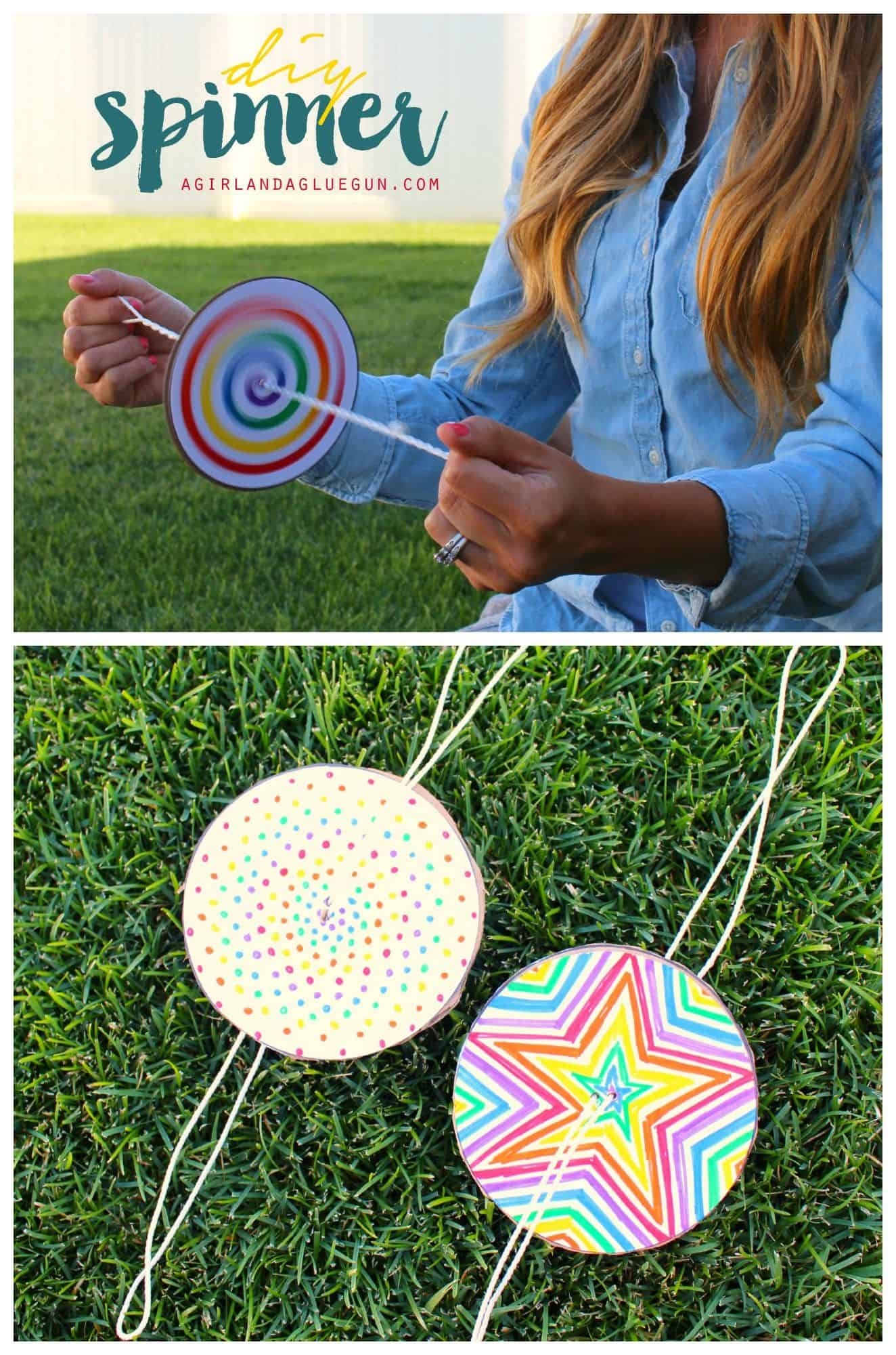Decorated diy paper spinners