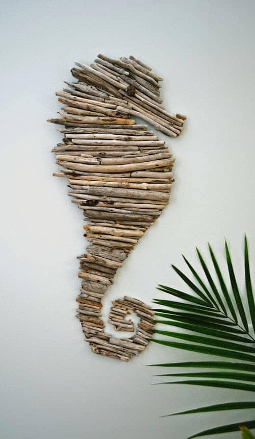 Driftwoof seashorse wall art