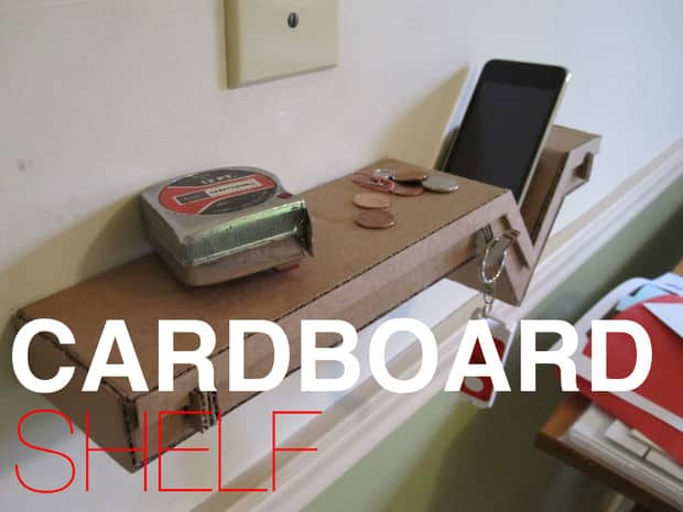 Durable cardboard floating wall shelf