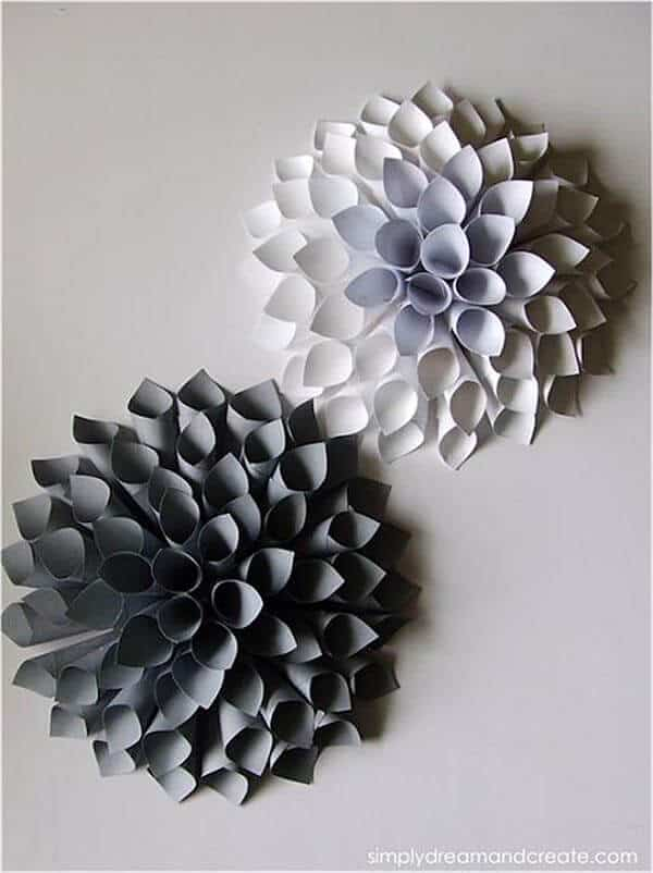 Easy paper wall dahlias