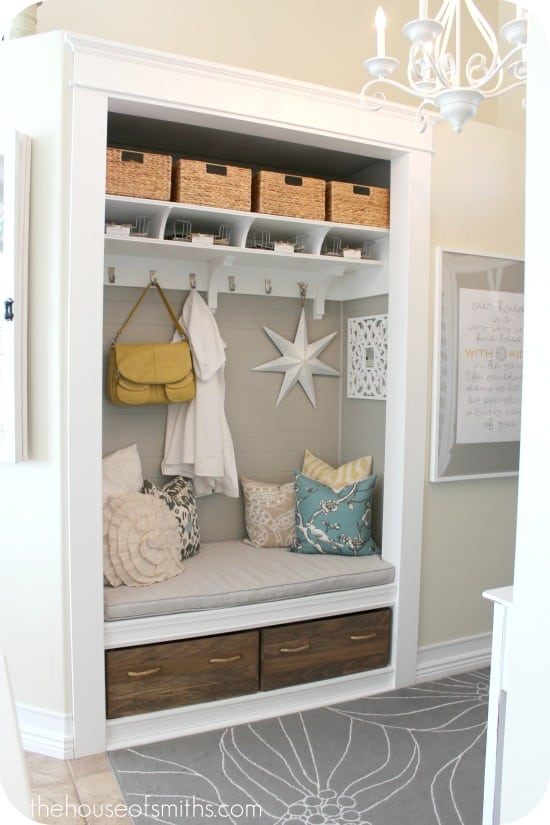 Entryway closet to bench and nook
