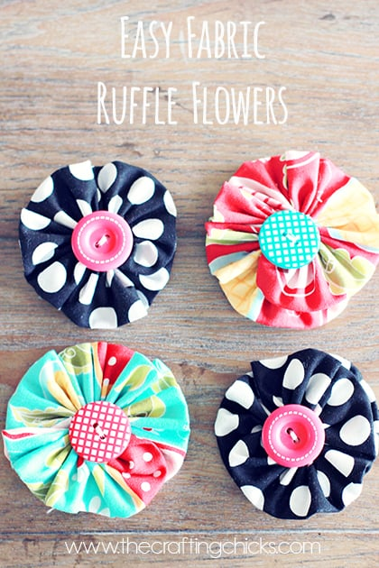 Fabric ruffle flowers with button centres