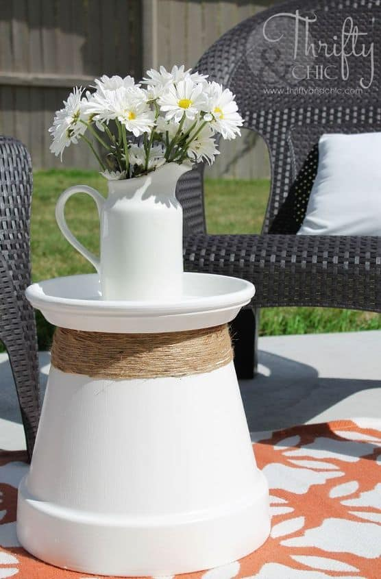 Flipped terra cotta pot and tray accent table